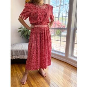 Vintage Star Print Short Sleeve Midi Dress Red